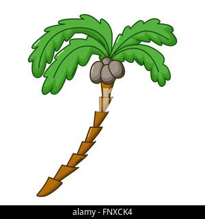 Icono de palmeras en el estilo de dibujos animados aislado sobre fondo blanco. Foto de stock