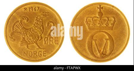 2 moneda de bronce 1967 mineral aislado sobre fondo blanco, Noruega