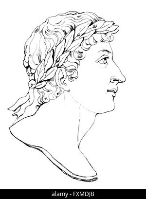 Publius Ovidius Naso u Ovidio, 43 BC - 17, un poeta romano, Publius Ovidius Naso oder Ovidio, 43 v. Chr. - 17 n. Chr., ein römischer D Foto de stock