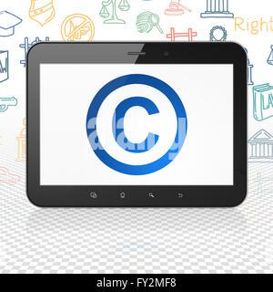 Concepto de Derecho: Tablet PC con copyright en la pantalla.