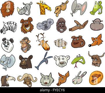 Dibujos Animados Animales salvajes jefes enorme conjunto