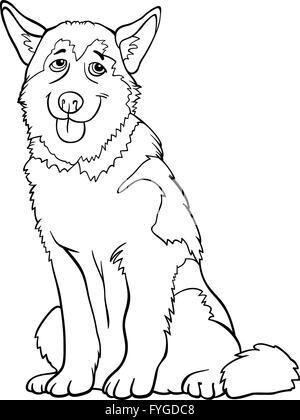 Husky o malamute perro caricatura para colorear Ilustración del ...