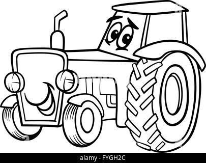 Libro para colorear dibujos animados para tractor Ilustración del ...