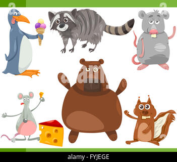 Animales salvajes cartoon set ilustración