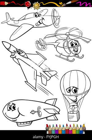 Libro para colorear de transporte aéreo conjunto cartoon Ilustración ...