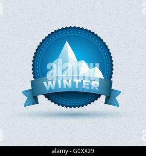 Diseño vectorial del invierno insignia. Los elementos están organizados en capas por separado en archivo vectorial.
