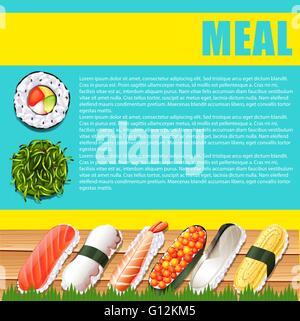 Diseño infográfico con comida japonesa ilustración Foto de stock