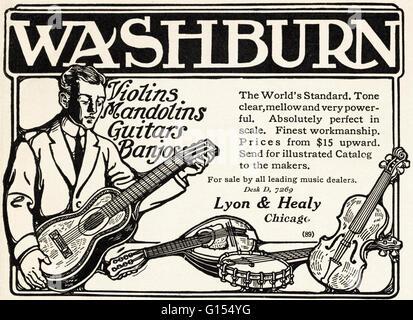 Original antiguo vintage revista americana anuncio desde la época eduardiana, data de 1910. Publicidad publicidad Washburn violines mandolinas guitarras y banjos por Lyon & Healy de Chicago, EE.UU.