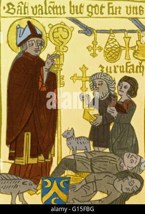 La peste negra barrió Europa, dejando ningún país intacto, antes de que llegara a Inglaterra. Este es un alemán Pestblatt llevado a proteger al propietario de pestilencia. La Muerte Negra (1340-1400) fue una de las pandemias más devastadoras de la historia humana,