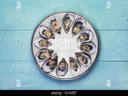 Docenas de ostras frescas en especial cocinar y servir la bandeja de metal