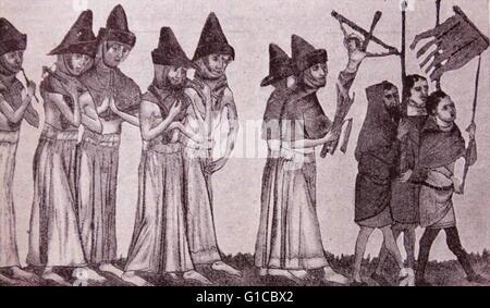 Grabado representando a los hermanos de la Cruz haciendo penitencia por la muerte negra