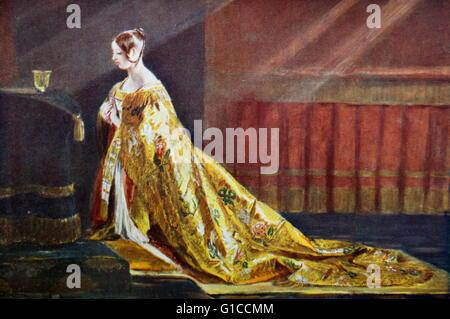 La reina Victoria (1819-1901), Reina del Reino Unido de Gran Bretaña e Irlanda y emperatriz de la India, en su abrigo Foto de stock