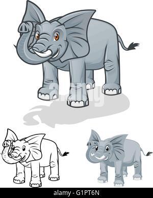 Personaje de dibujos animados de alta calidad elefante ilustración vectorial