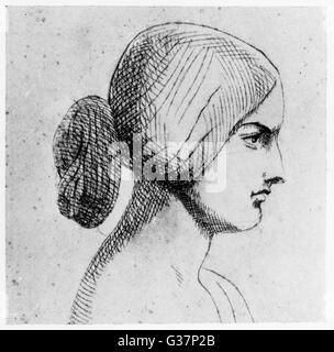 La reina Victoria (1819-1901) en su autorretrato Fecha: 1840 Foto de stock