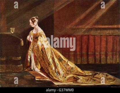 Imagen de la reina Victoria de 1838, mostrando la victoria en su abrigo de coronación. Fecha: 1819 - 1901 Foto de stock