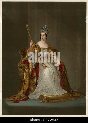 La reina Victoria en su abrigo de coronación, de junio de 1838 Fecha: 1819 - 1901 Foto de stock