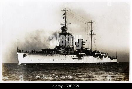HMS Hawkins, British HEAVY CRUISER (armada). Fecha: circa 1920 Foto de stock