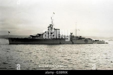 HMS Effingham (D98), British Hawkins clase HEAVY CRUISER. Fecha: circa 1939 Foto de stock