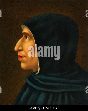 Girolamo Savonarola, 21.9.1452 - 23.5.1498, clérigo Italiano, retrato, perfil, basado en la pintura por Fra Bartolomeo, siglo XVI, Galeria di San Marco, el Copyright del artista no ha de ser borrado