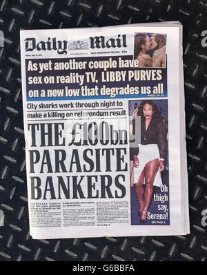 El periódico británico Daily Mail Front page el día después del referéndum sobre la UE.