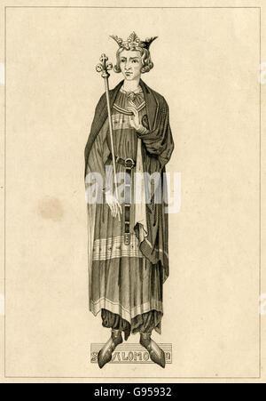 Grabado antiguo, circa 1880, de Luis IX de Francia. Fuente: grabado original.