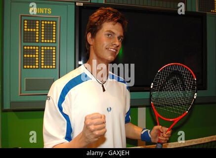 Una obra de tenis británico Andy Murray en madame Tussauds en el centro de Londres.