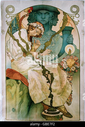 Bellas artes, Alfons Mucha, Alfons (1860 - 1939), póster, litografía en color, circa 1900