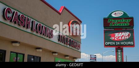 """Las Vegas, Nevada - Oficina de efectivo rápido, ofreciendo a corto plazo """"Payday Préstamos'."""