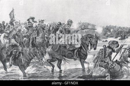 Batalla del Boyne 1690, el 6º Dragones dirigida por Guillermo III Foto de stock