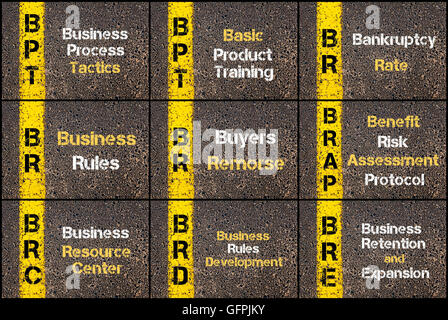 Collage fotográfico de acrónimos de negocios escrito a través de la señalización de la línea de pintura amarilla. BPT, BR BRAP, BRC, BRD, BRE