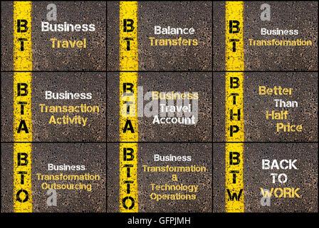 Collage fotográfico de acrónimos de negocios escrito a través de la señalización de la línea de pintura amarilla. BT, BTA, BTHP, BTO, BTTO, BTW