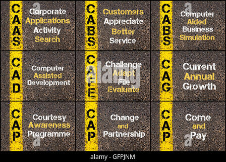Collage fotográfico de acrónimos de negocios escrito a través de la señalización de la línea de pintura amarilla. CAAS, taxis, CAD, CAFE, el CAG, TAPA