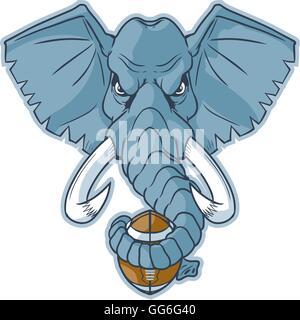 Cartoon vectores clip art ilustración de un elefante mascota cabeza sujetando un balón de fútbol envuelto en su tronco.
