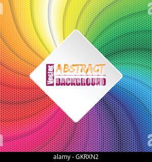 Rainbow girante con fondo cuadrado elementos hexagonales Foto de stock