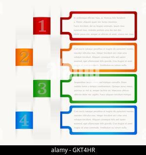 Cuatro elementos de fotogramas consecutivos con un montón de espacio para el texto y las descripciones.