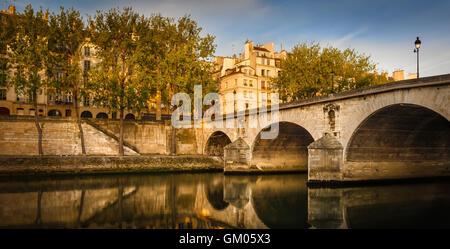 La luz del sol de la mañana en la Ile Saint Louis y Aspen árboles que bordean el río Sena banco por Pont Marie y Quai d'Anjou. París, Francia