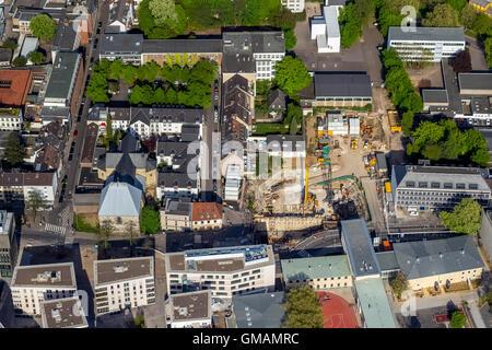 Vista aérea, sitio de construcción en el emplazamiento de la ciudad asistida insertado el archivo de Colonia, el colapso del Archivo Histórico Foto de stock