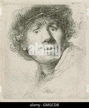 Autorretrato con boina de Rembrandt van Rijn, 1630, Holandés, impresión Aguafuerte sobre Papel. Rembrandt era 24 Foto de stock