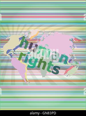 Concepto de Derecho: palabras derechos humanos sobre negocios de fondo digital ilustración vectorial