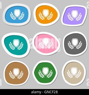Símbolos de la medalla premio en blanco. Pegatinas de papel multicolor. Vector
