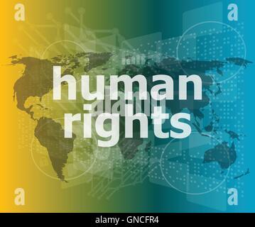 Concepto de Derecho: palabras los derechos humanos en el negocio digital vector fondo comillas con línea delgada discurso burbuja. Concepto de c