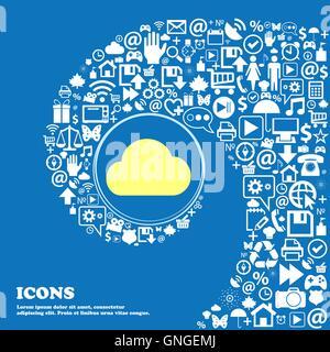 Símbolo de signo de la nube. Buen conjunto de iconos hermosos torcido espiral hacia el centro de un gran icono. Vector