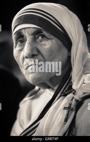 Retrato de la Madre Teresa, Santa Teresa de Calcuta Foto de stock
