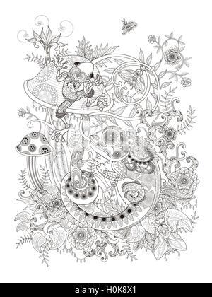 Hermosa Página de coloración adulta, rana y el camaleón en seta ...