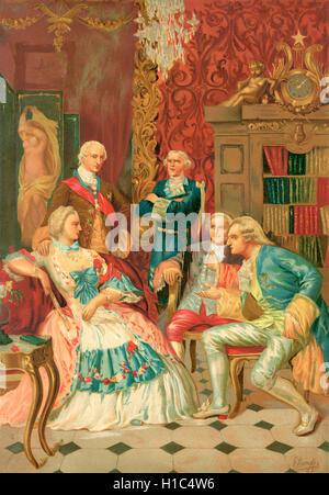 Madame de Pompadour departiendo en la sociedad francesa, siglo XVIII. Jeanne Antoinette Poisson, Marquesa de Pompadour, aka Madame de Pompadour, 1721 - 1764. Miembro de la corte francesa y el oficial jefe amante de Luis XV.