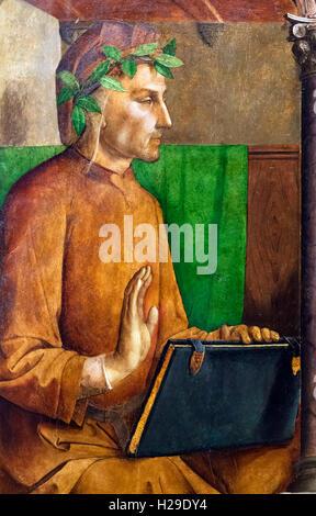 Dante Alighieri (1265-1321), un poeta y estadista italiano de finales de la edad media. 15thC pintura desde el Palazzo Ducale, Urbino, atribuido a Justus van Gent (Joos van Wassenhove), actualmente en el Museo del Louvre, París.