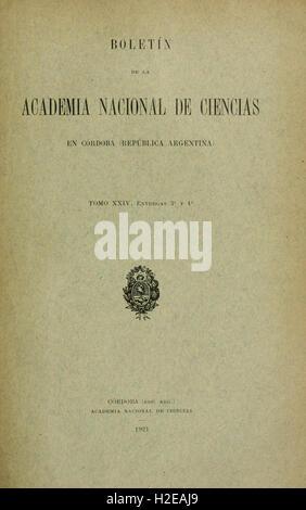 Boletin de la Academia Nacional de Ciencias en Córdoba, República Argentina