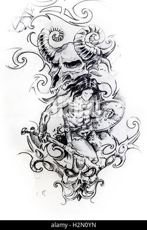 Diseño Folk Guerrero arte vectorial Ilustración del Vector, Imagen ...