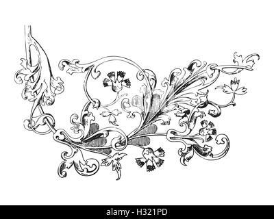 Ilustración dibujada a mano de twig con flores y hojas vector ...