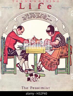 La vida el Día de Acción de Gracias el 4 de noviembre de 1920 desde antiguo original vintage la portada de la revista americana